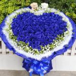 牽動我心-99朵心形藍色妖姬花束