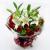 11朵红玫瑰,2枝多头香水百合(不少于6头),栀子叶间插点缀, 黄莺间插点缀,,内衬白色棉纸(不少于7张),外部咖啡色卡纸圆形包装(不少于8张),红色丝带束扎。,
