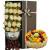 19朵香槟玫瑰,黄莺与尤加利叶间插点缀,赠送两只可爱小公仔,8寸蛋糕,印花纸、编织网包装,咖啡色蝴蝶结束扎,棕色长方形礼盒装,