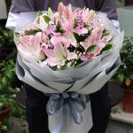 溫情祝福-7枝多頭粉百合花束