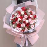 百花争艳-33朵红色粉色玫瑰混搭