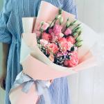 浪漫傾情-韓式混搭6朵粉玫瑰花束
