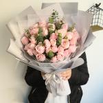 粉色佳人-33朵粉红雪山玫瑰花束
