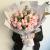 33朵粉红雪山玫瑰,尤加利间插点缀,浅灰色欧亚纸扇形包装,白色雪梨纸内衬,白色丝带结扎,