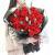 33朵红玫瑰,尤加利间插点缀,黑色雾面纸包装,黑色网纱外围包裹,红色丝带束扎,