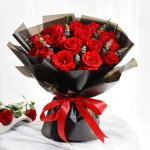 甜蜜物语-19朵红玫瑰鲜花花束