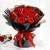 19朵红玫瑰,尤加利间插点缀,黑色雾面纸外围,红色丝带束扎,韩式扇形花束,