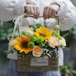 美好時光-向日葵手提花籃