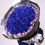 相爱相守-52朵蓝色妖姬花束