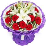 想你的夜-3枝白色多头百合+11朵红玫瑰
