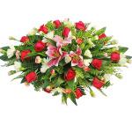 商務桌花-粉百合紅玫瑰