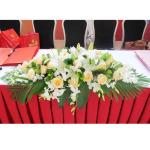 商务桌花-香槟玫瑰百合洋兰