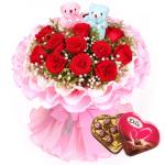 11枝红玫瑰巧克力组合
