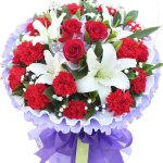 无声祝福-16朵康乃馨+3朵玫瑰+2枝百合