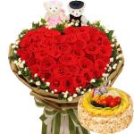 33朵红玫瑰心形+蛋糕
