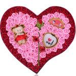 92朵香皂花+一枝玫瑰+小熊+IOU灯:爱你一生