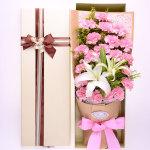 溫馨祝福-19朵粉康乃馨+3朵百合鮮花禮盒