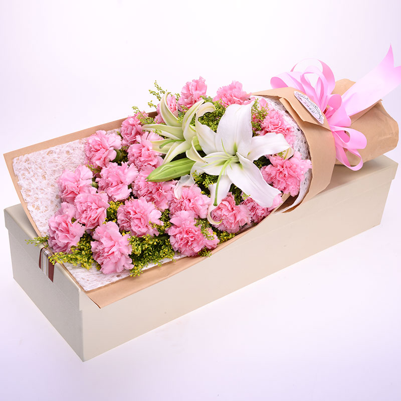 粉色百合花束图片