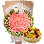 33粉玫瑰鲜花蛋糕组合(蛋糕8寸)