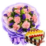 11枝粉康乃馨鲜花蛋糕组合(蛋糕8寸)