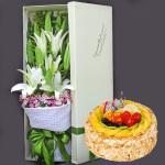 11朵百合花礼盒鲜花蛋糕组合(蛋糕8寸)