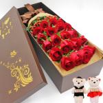 19朵紅玫瑰禮盒(隨機贈2公仔)