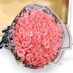 楚楚可人-99朵戴安娜玫瑰鮮花花束