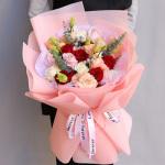 光艳四溢-19朵粉白红玫瑰花混搭