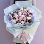 清新可人-19朵粉佳人白玫瑰混搭