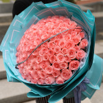 粉色少女-99朵粉色玫瑰花