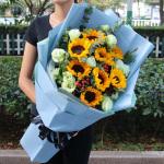 8朵向日葵洋桔梗混搭鲜花花束送长辈慰问病人