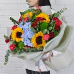 亥猪-生肖鲜花-向日葵绣球花束