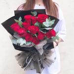 一世芳華-11朵紅玫瑰鮮花花束