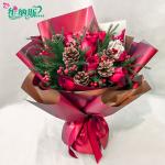 圣诞节礼物红玫瑰鲜花花束