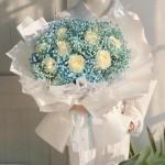 夢的光點-9朵白玫瑰藍色滿天星花束