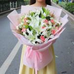 紙鳶梔年-粉玫瑰百合混搭花束