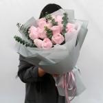 初戀的心-19粉玫瑰鮮花花束