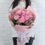 夏之物语-11枝粉玫瑰花束