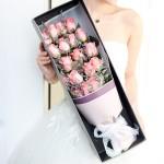 吾本倾心-19朵粉玫瑰鲜花礼盒花束