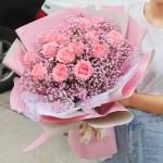 粉色甜心-19朵戴安娜粉色满天星韩式混搭花束