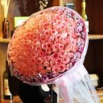 恋爱百分百-99朵粉玫瑰鲜花花束