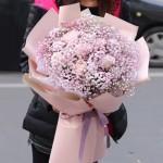 初恋一生-6朵粉玫瑰满天星韩式鲜花花束