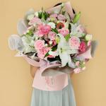 一抹暖阳-粉佳人粉康乃馨百合混搭花束