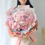 不变的心-99朵粉玫瑰花束