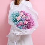 星空佳人-6枝粉玫瑰滿天星花束