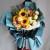3朵向日葵,9朵香槟玫瑰,15朵橙色多头玫瑰,绿桔梗、绿色小雏菊、尤加利间插丰满,白色雪梨纸内衬,灰蓝/水泥灰双面欧雅纸外围包装,白色英文丝带和黑色英文丝带蝴蝶结束扎,