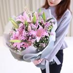 幸福拥抱-6枝多头粉百合鲜花花束