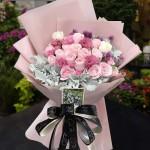 疏影-19枝粉玫瑰花花束