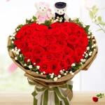 爱的诺言-52朵红玫瑰心形花束