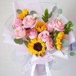 希望之光-向日葵粉玫瑰混搭花束